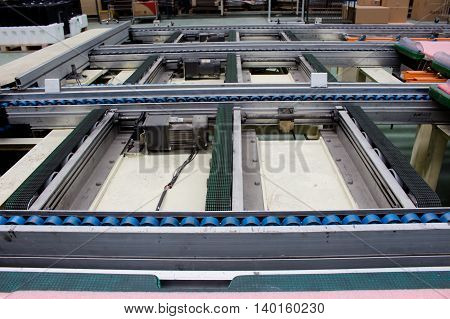 the conveyor belt and electric motor in industry.