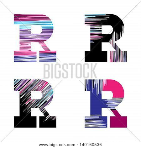 Letter R set. Vector graphic alphabet symbol in grunge style. Design template elements.