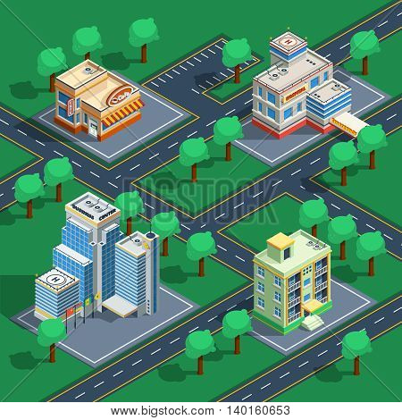 Isometric decorative icon set with buildings placed on the abstract streets with trees around vector illustration