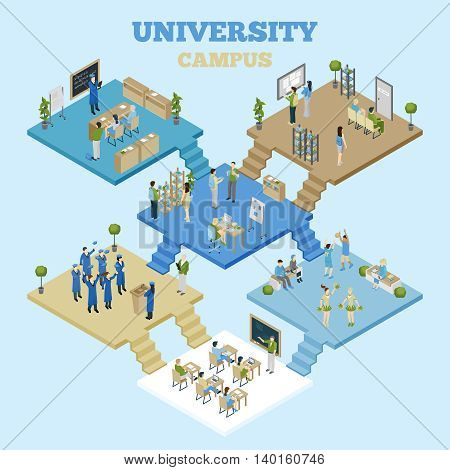 University campus isometric illustration with classrooms and students having classes on light blue background vector illustration
