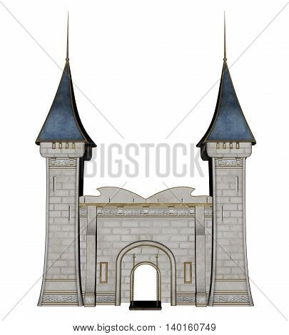 Beautiful detailed castle entrance isolated in white background - 3D render