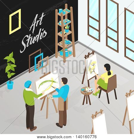 Male and female artists painting in art studio isometric vector illustration