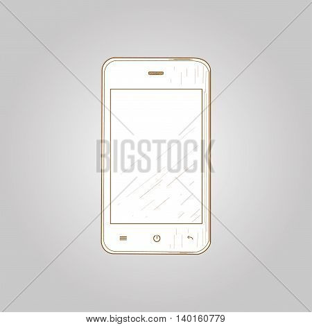 Mobile phone drawing, vector illustration. Brown mobile phone