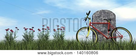 Cyclist tombstone by cloudy day - 3D render