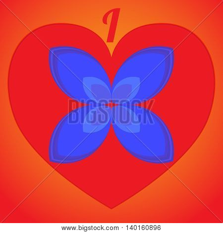 I love flower. Logo or icon on red heart.
