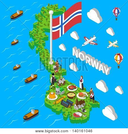 Norwegian isometric map with cultural symbol sand popular seafood meals sightseeing touristic poster abstract vector illustration
