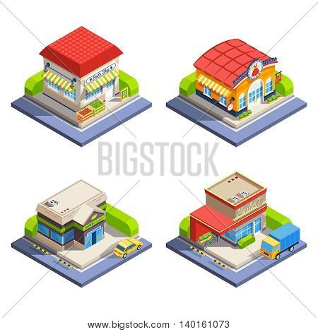 One-storeyed shop buildings offering various goods set on white background isometric isolated vector illustration