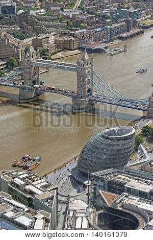 Famous Tower Bridge and the City Hall from above London UK.