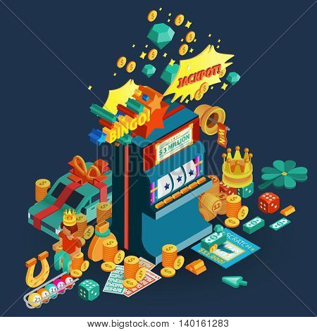 Lottery and slot machine isometric composition with jackpot and bingo description and accessories for table games vector illustration