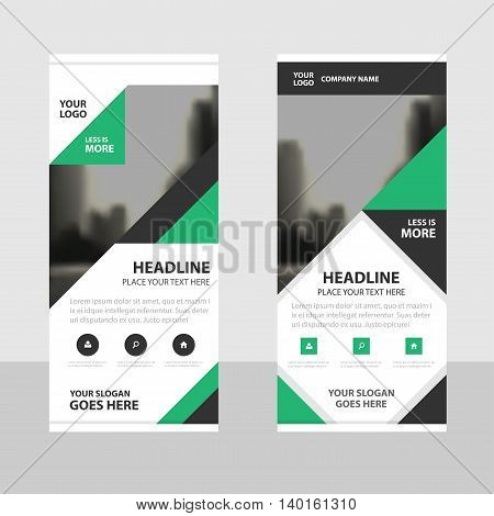 Green black triangle Business Roll Up Banner flat design template Abstract Geometric banner template Vector illustration set abstract presentation brochure flyer template vertical template vector