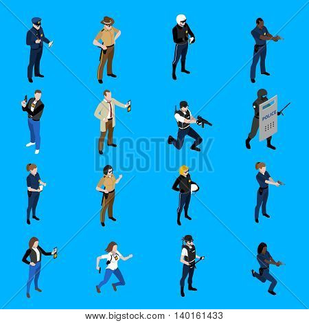 Set of isometric icons depicting policeman and policewoman with different uniform detective sheriff patrolman vector illustration