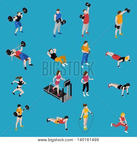 Gym and training isometric icons set on blue background isolated vector illustration