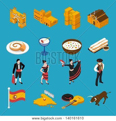 Touristic Spain isometric icons set on blue background isolated vector illustration