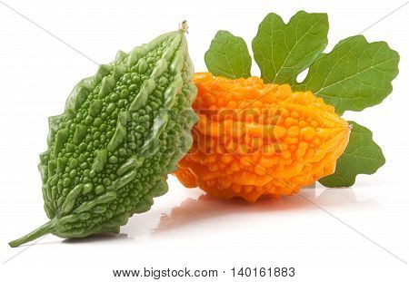 green and yellow momordica or karela with leaf isolated on white background.