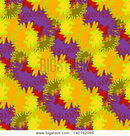 Autumn red and orange leaves carved seamless pattern.