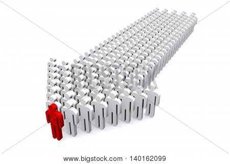 3D illustration of Group of business workers with red team leader on white background.