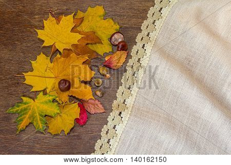 Leaves acorns and chestnuts on a table. Autumn background