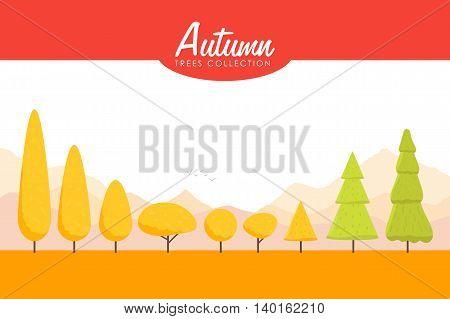 Cartoon Autumn trees set. Low poly Vector illustration.