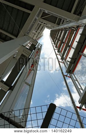 LONDON UNITED KINGDOM - JULY 2 2014: View towards the very top of the Shard Building from the open-air viewing platform.