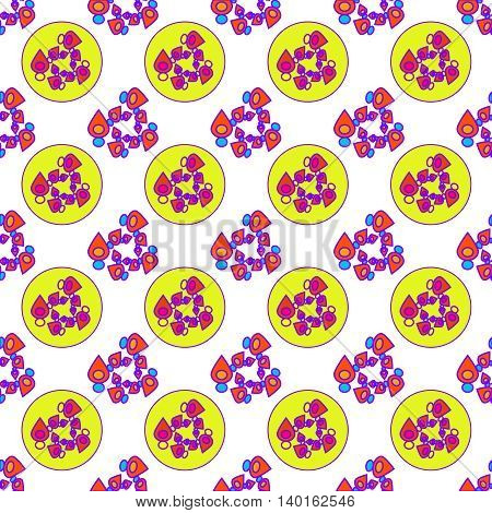 Abstract geometric colorful seamless pattern on white background.