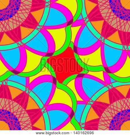 Geometric multicolor fractal mandala seamless pattern for background or design work