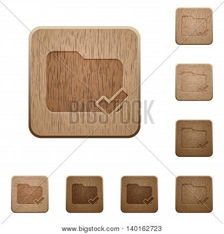 Set of carved wooden Folder ok buttons in 8 variations.