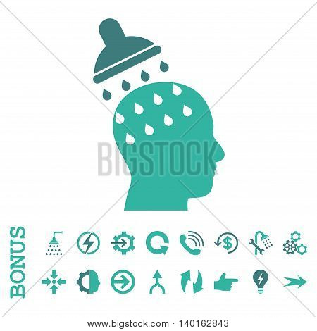 Brain Washing vector bicolor icon. Image style is a flat iconic symbol, cobalt and cyan colors, white background.