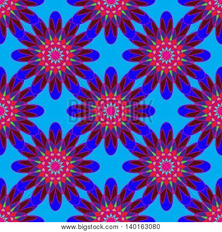 Beautiful new coloful symmetric seamless pattern with flower for background or wrap-design.