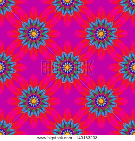 Fractal mandala seamless pattern on pink leaves background.
