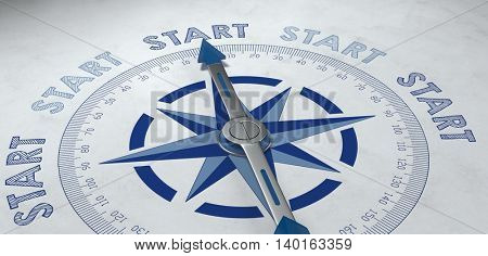 3d render of compass pointer surrounded by start text for concept about getting started properly for business and goals