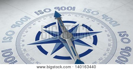 3d render of blue and gray metal compass pointer surrounded by text for worldwide ISO 9001 standards