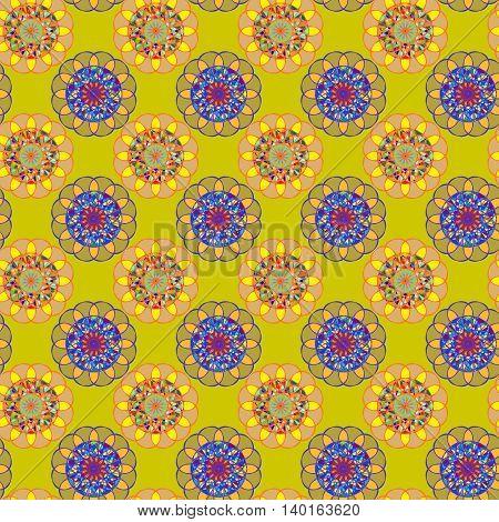 Geometric fractal mandala seamless pattern on deep yellow background.