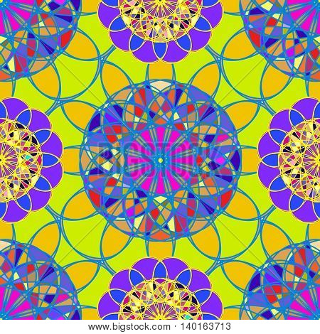 Amazing multicolor kaleidoscope diamond on a background of leaves seamless pattern for new design.