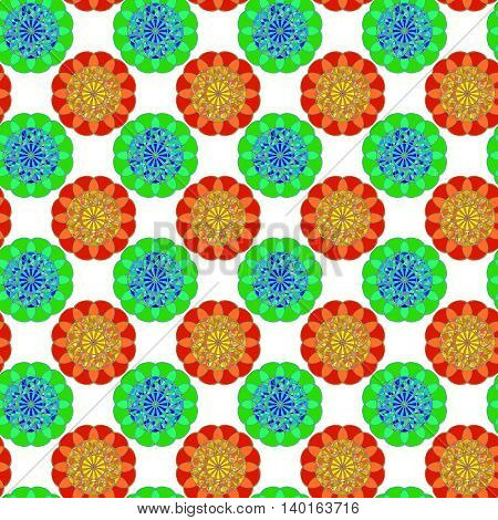 Multicolor faceted fractal diamond seamless pattern on white background.