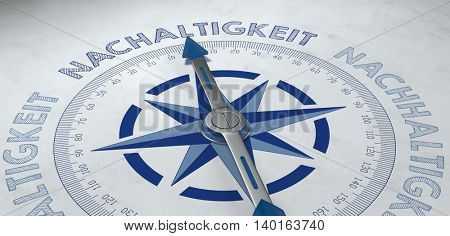 3d render of gray and blue compass aimed at nachaltigkeit, or German phrase for sustainability in business