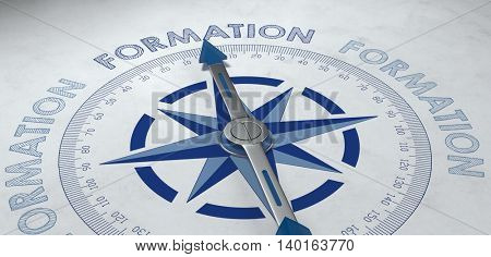 Close up 3D render of compass pointing to German word formation, for concept about group effort