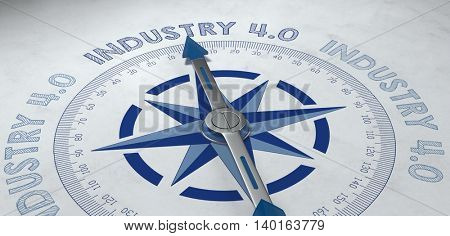 3d render of blue and gray compass pointing to the German phrase industrie 4.0, for concept about competence in the industrial sector