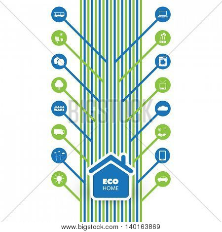 Green Eco Friendly Smart Home Concept with Icons - Illustration in Editable Vector Format