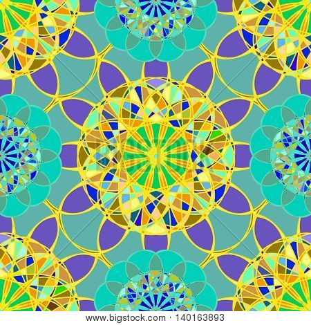 Yellow fractal diamond on a background of blue leaves seamless pattern.