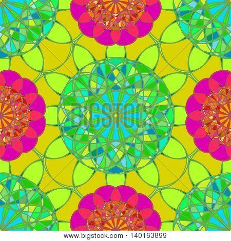 Amazing fractal diamond on a background of green-orange leaves seamless pattern.