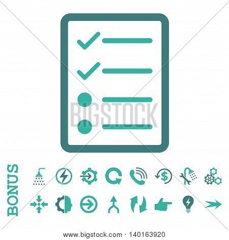 Checklist Page vector bicolor icon. Image style is a flat iconic symbol, cobalt and cyan colors, white background.