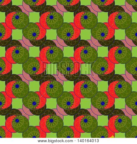 Amazing colorful fractal flower on four symmetric circle seamless pattern for background.