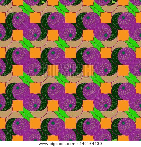 Geometric seamless pattern with fractal flower in green and violet colors on deep orange background.
