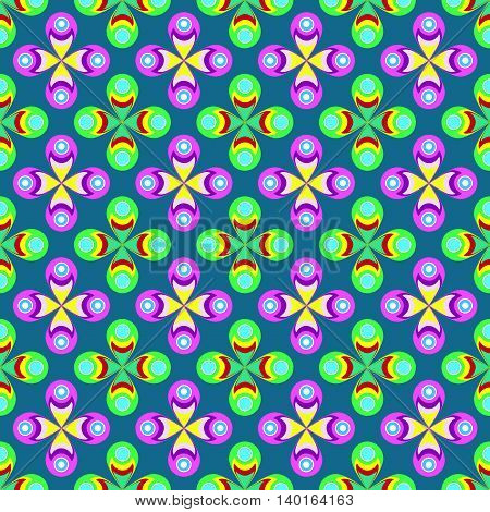 Abstract, floral, colorful and seamless pattern in sixties fashion style