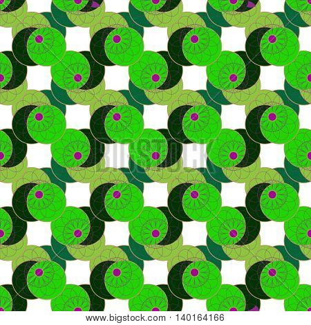 Geometric seamless pattern with fractal flower on green leaves and white background.