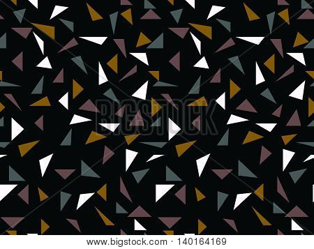Triangular shapes scattered on dark background seamless pattern