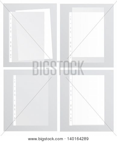 Various options for paper files. Vector illustration