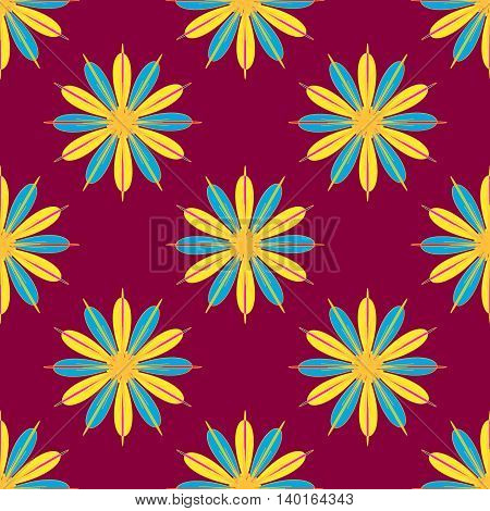 Geometric seamless pattern with fractal flower in yellow and blue colors on magenta red background