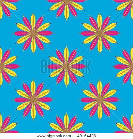 Geometric seamless pattern with fractal flower in red and yellow colors on light blue background.