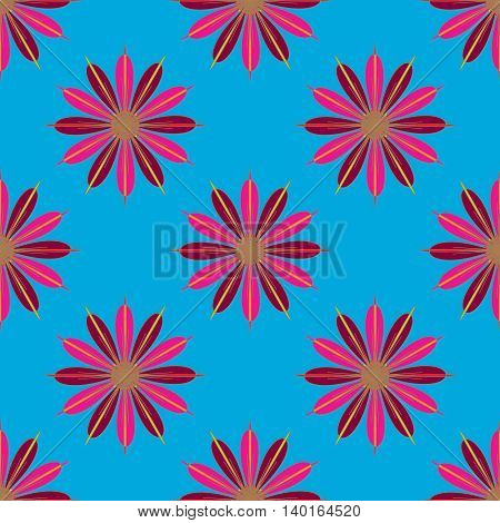 Geometric seamless pattern with fractal flower in red and magenta colors on blue background